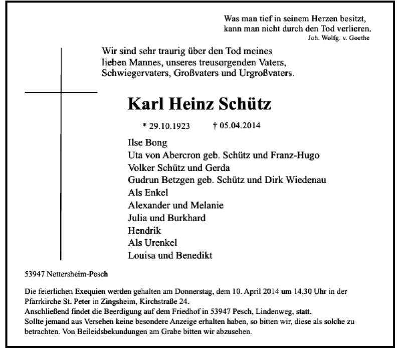 Alle Traueranzeigen Fur Karl Heinz Schutz Trauer Rp Online De