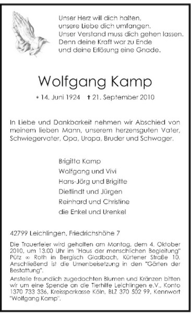 Anzeige von Wolfgang Kamp | trauer.rp