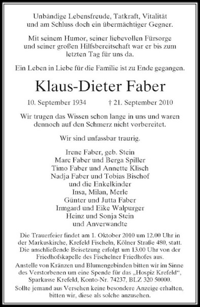 Anzeige von Klaus Dieter Faber | trauer.rp