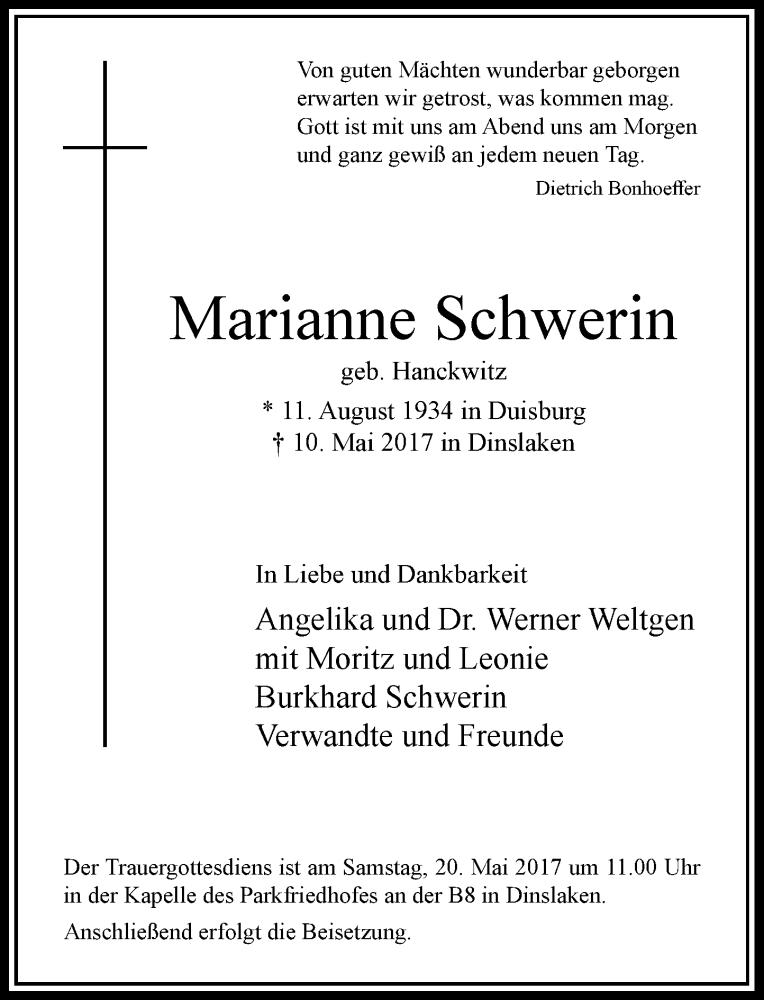 Traueranzeigen Schwerin