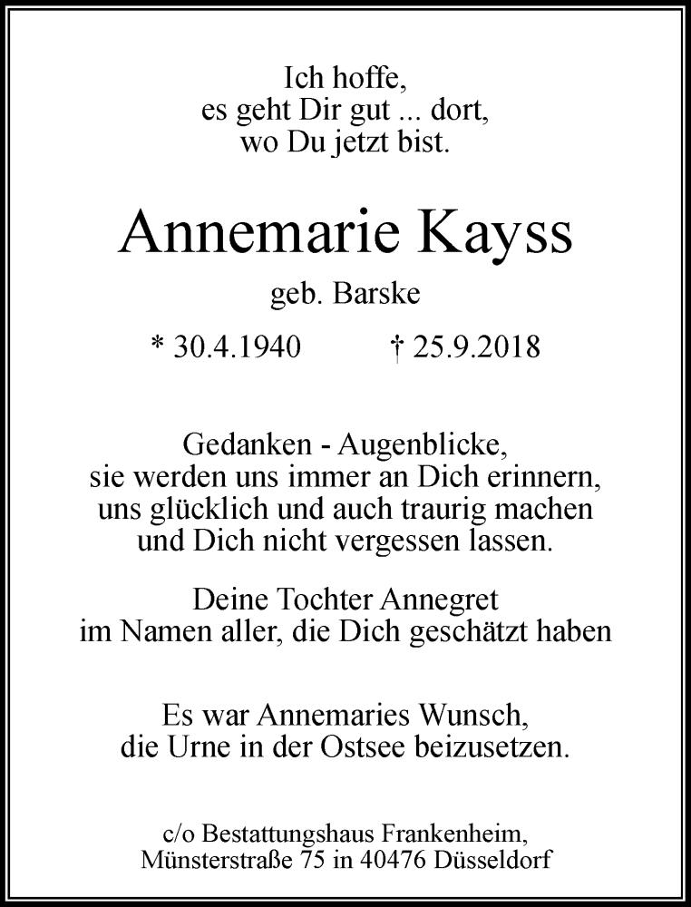Traueranzeige für Annemarie Kayss vom 13.10.2018 aus Rheinische Post
