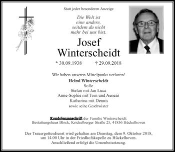 Traueranzeige von Josef Winterscheidt von Rheinische Post