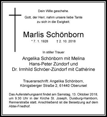 Traueranzeige von Marlis Schönborn von Rheinische Post