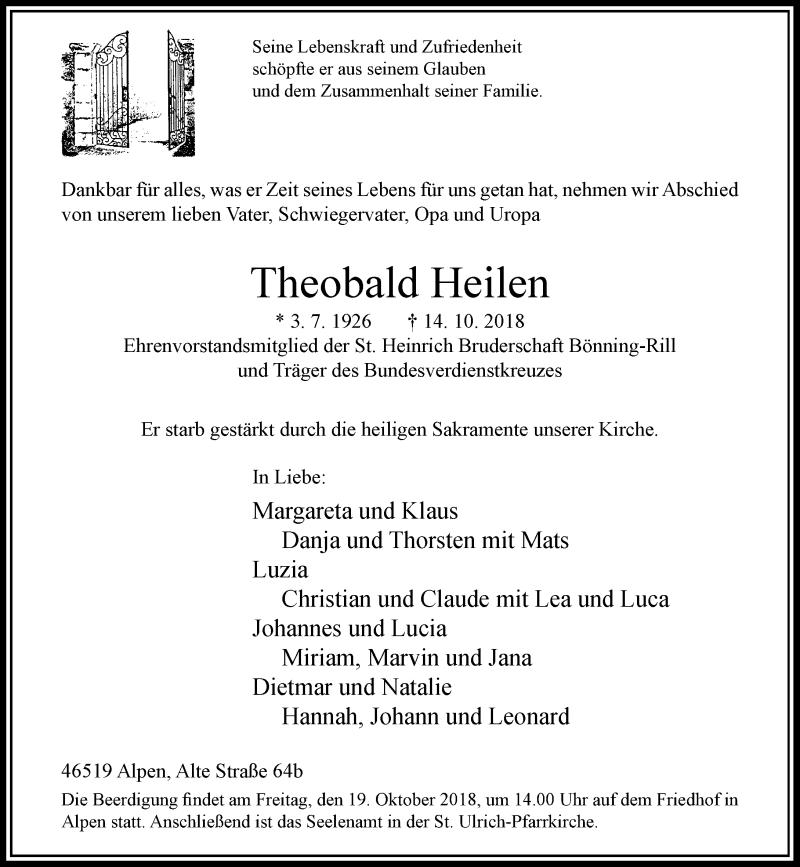 Traueranzeige für Theobald Heilen vom 16.10.2018 aus Rheinische Post