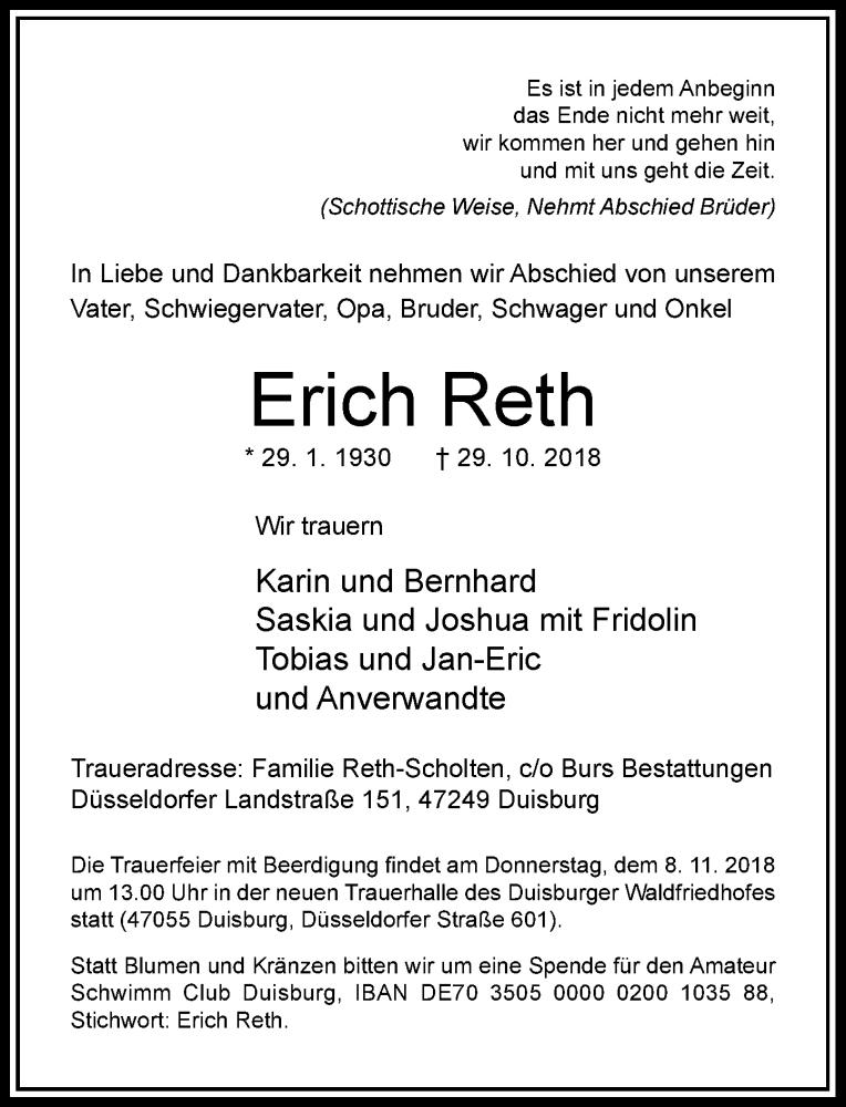 Anzeige von  Erich Reth