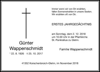 Traueranzeige von Günter Wappenschmidt von Rheinische Post