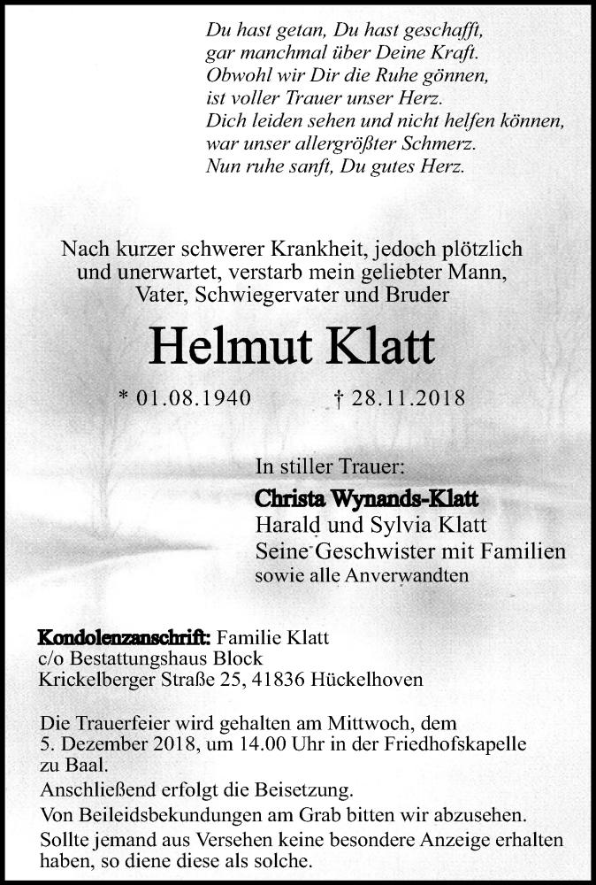 Traueranzeige für Helmut Klatt vom 01.12.2018 aus Rheinische Post