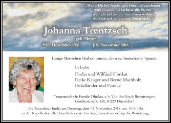 Traueranzeige von Johanna Trentzsch von Rheinische Post