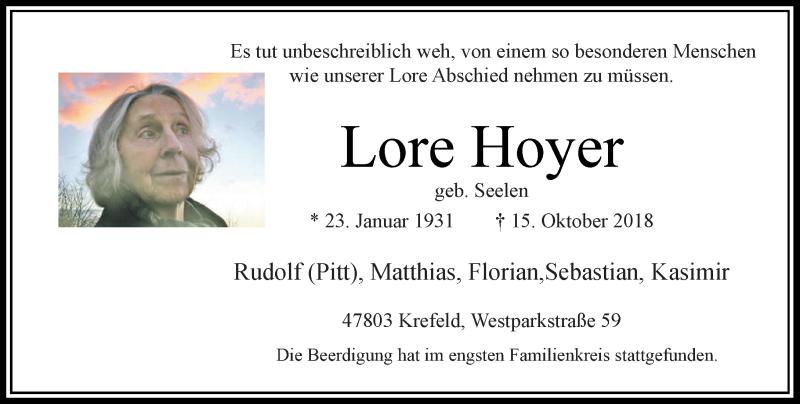 Traueranzeige für Lore Hoyer vom 03.11.2018 aus Rheinische Post
