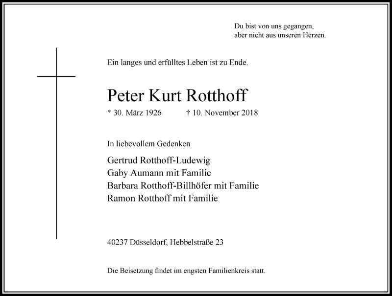 Anzeige von  Peter Kurt Rotthoff