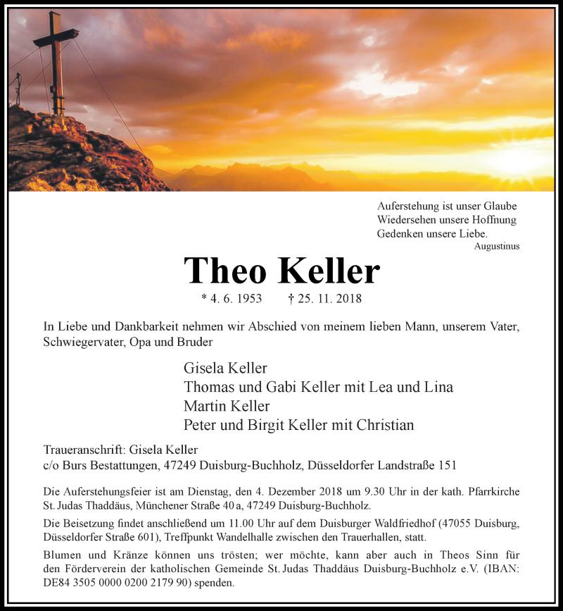 Traueranzeige für Theo Keller vom 28.11.2018 aus Rheinische Post