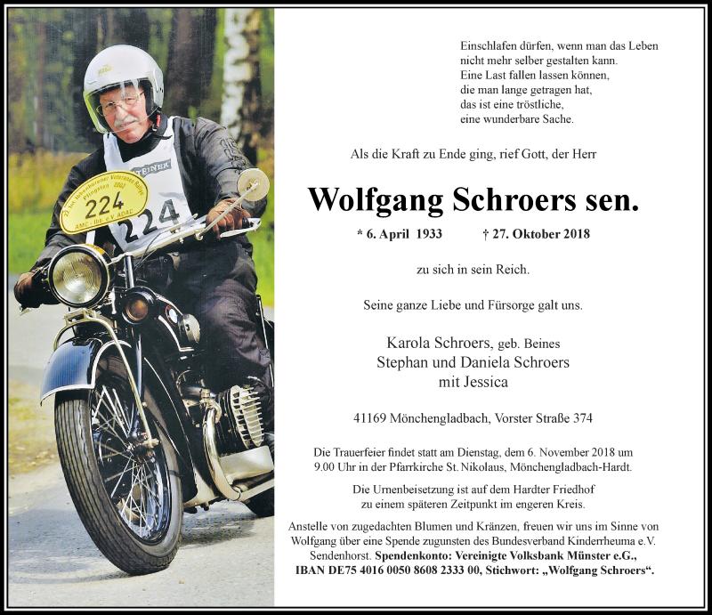 Anzeige von  Wolfgang Schroers