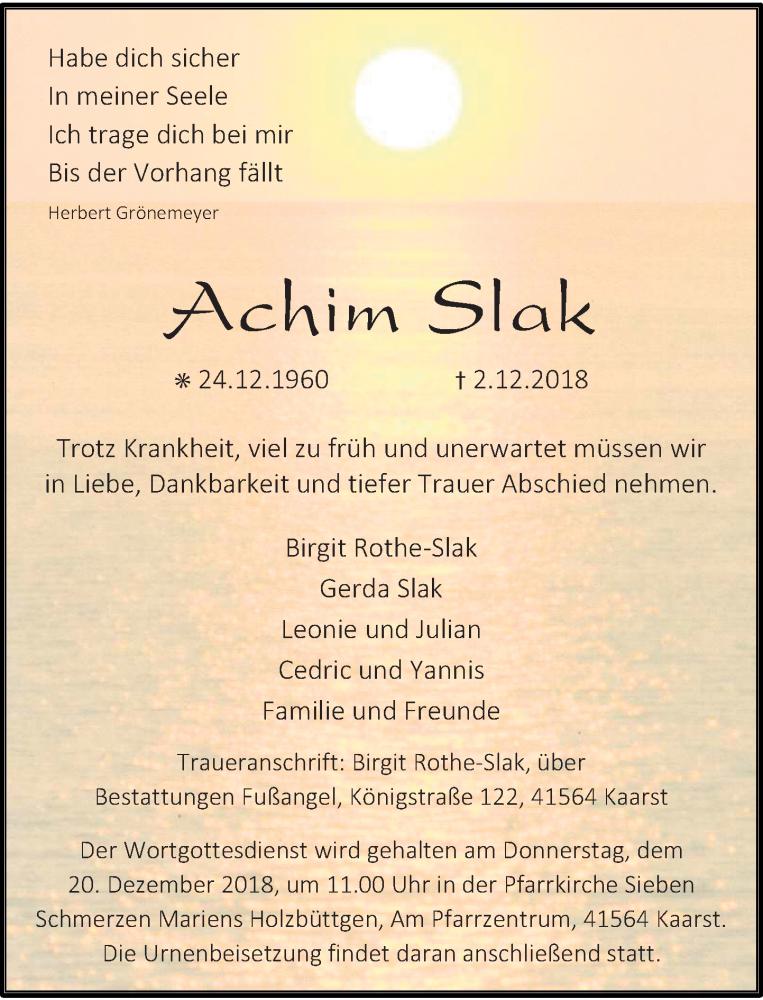 Anzeige von  Achim Slak