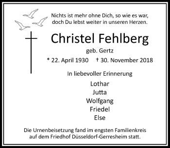 Traueranzeige von Christel Fehlberg von Rheinische Post
