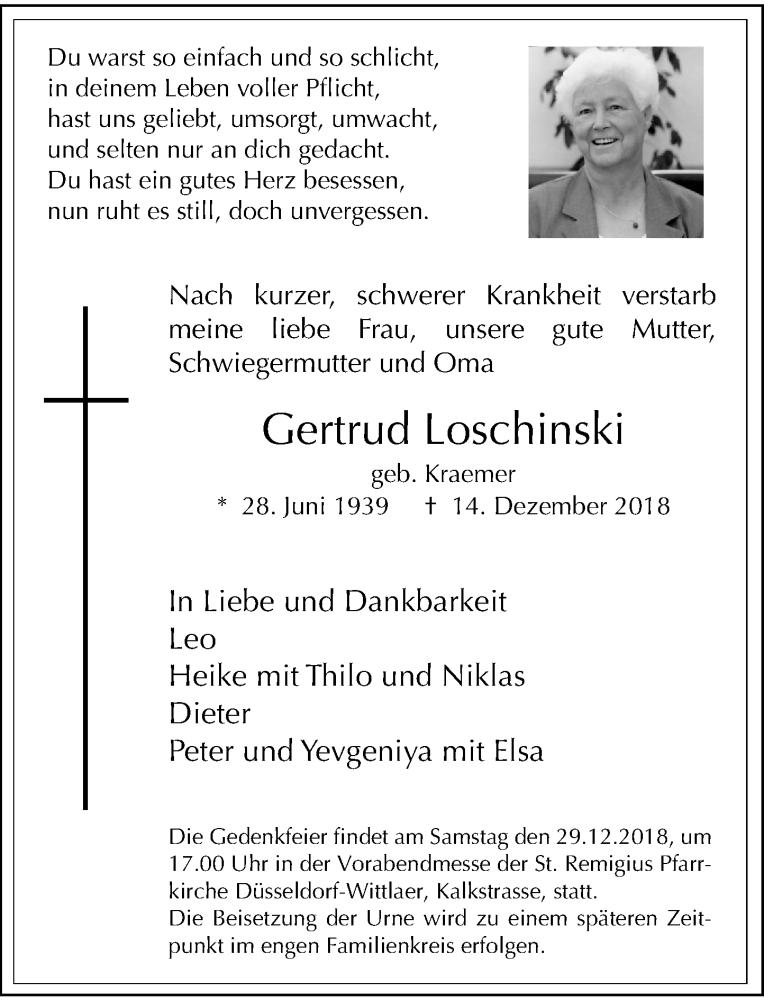 Anzeige von  Gertrud Loschinski
