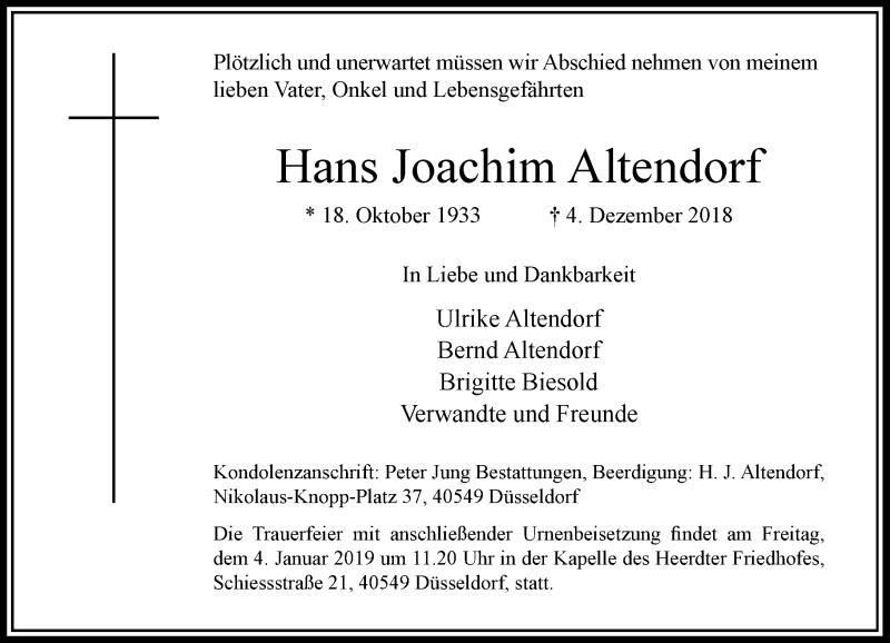 Traueranzeige für Hans Joachim Altendorf vom 29.12.2018 aus Rheinische Post