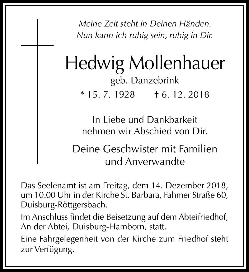 Anzeige von  Hedwig Mollenhauer