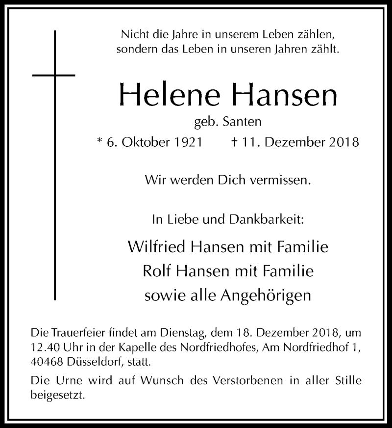 Traueranzeige für Helene Hansen vom 17.12.2018 aus Rheinische Post