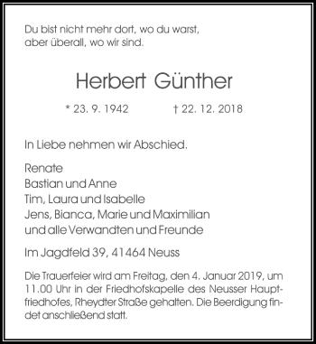 Traueranzeige von Herbert Günther von Rheinische Post