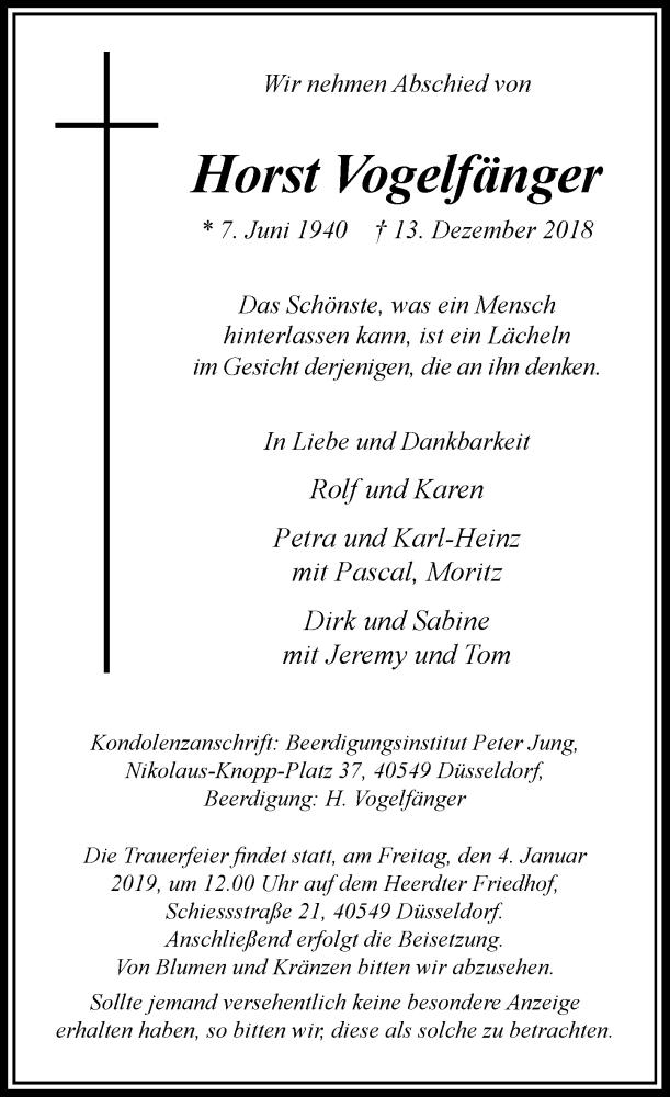 Traueranzeige für Horst Vogelfänger vom 22.12.2018 aus Rheinische Post