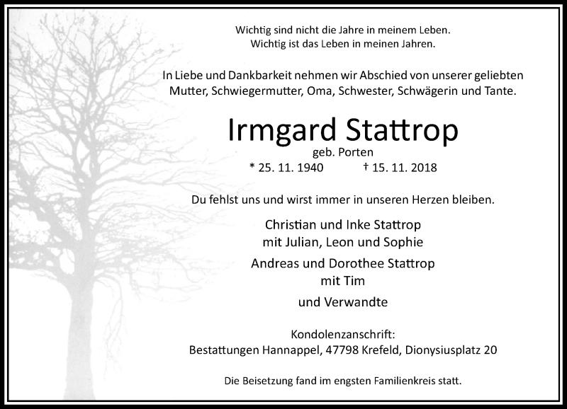 Traueranzeige für Irmgard Stattrop vom 01.12.2018 aus Rheinische Post