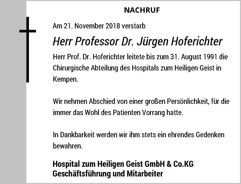 Anzeige von  Jürgen Hoferichter