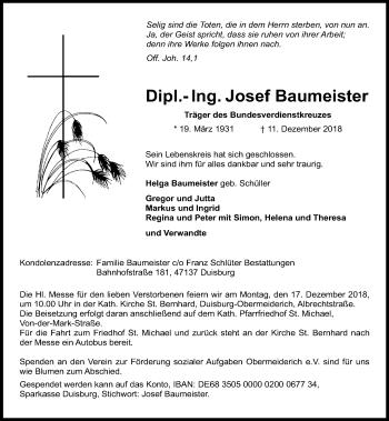 Traueranzeige von Josef Baumeister von Rheinische Post