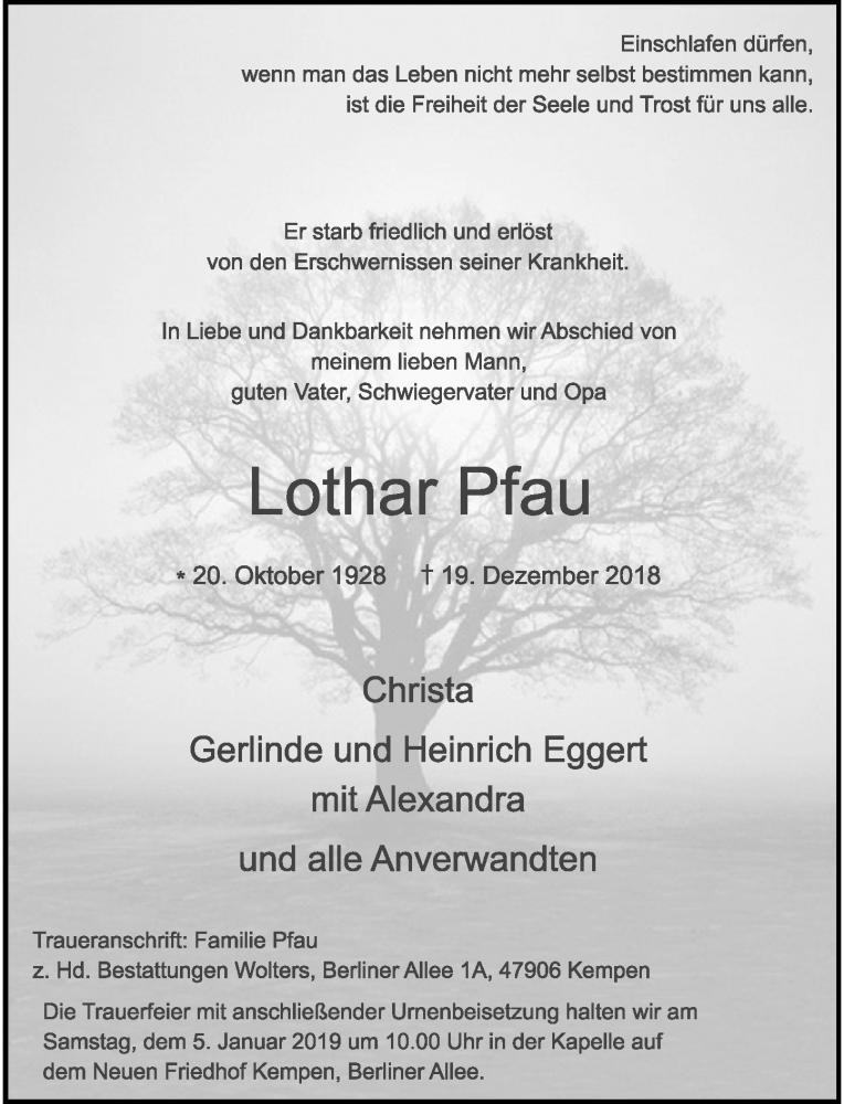 Anzeige von  Lothar Pfau