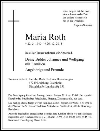 Traueranzeige von Maria Roth von Rheinische Post