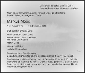 Traueranzeige von Markus Moog von Rheinische Post