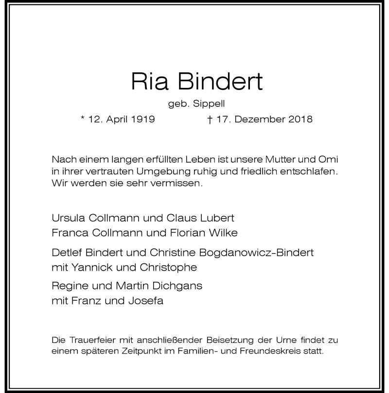Anzeige von  Ria Bindert