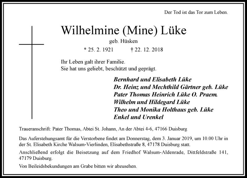 Traueranzeige für Wilhelmine Mine Lüke vom 29.12.2018 aus Rheinische Post