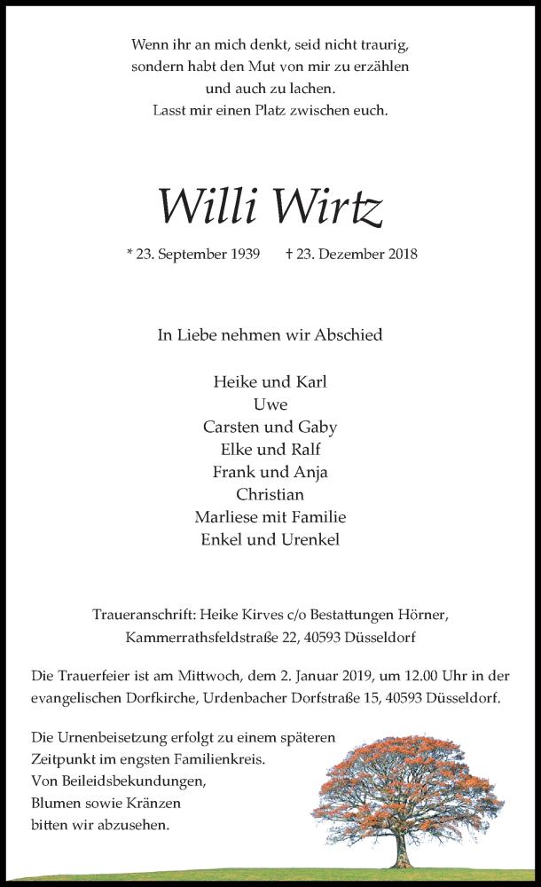 Traueranzeige für Willi Wirtz vom 29.12.2018 aus Rheinische Post