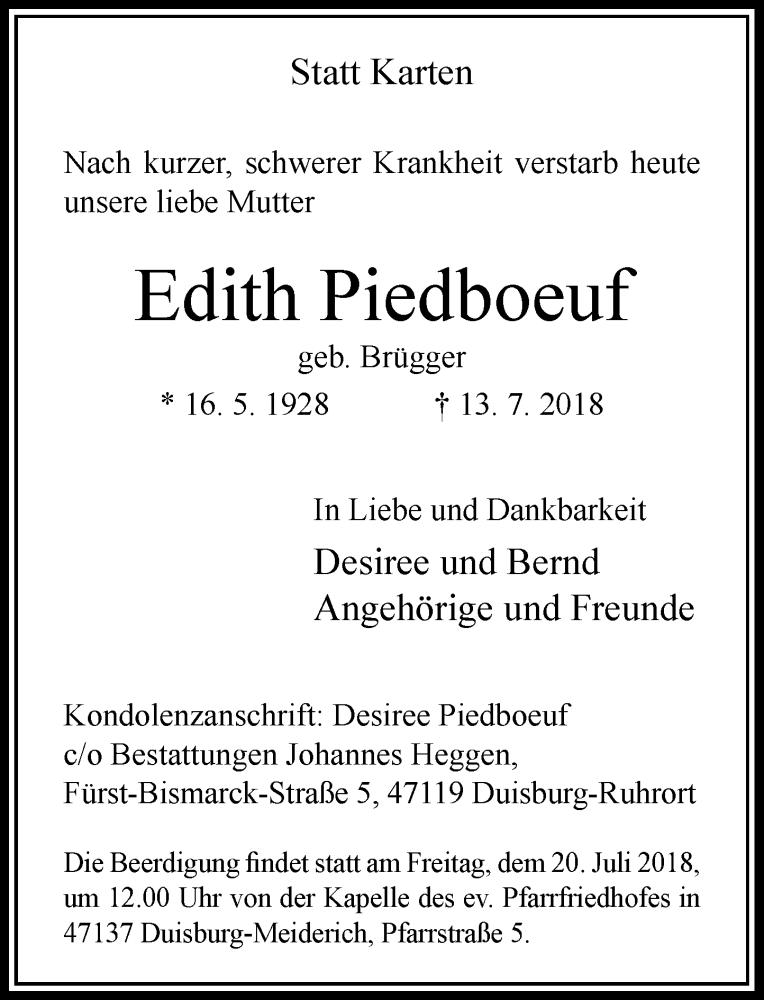 Anzeige von  Edith Piedboeuf