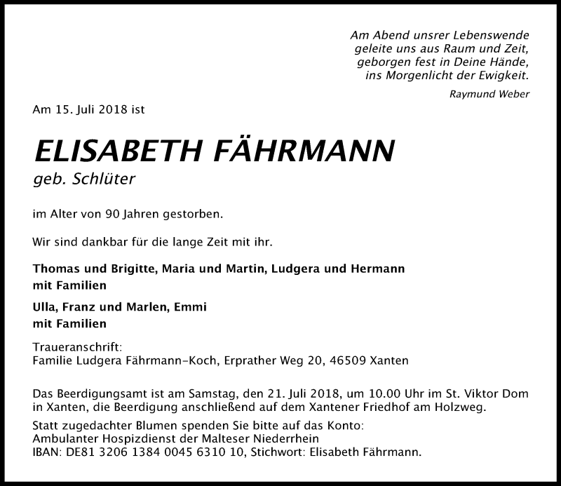 Anzeige von  Elisabeth Fährmann