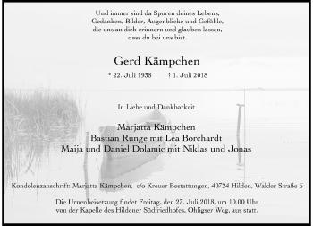 Traueranzeige von Gerd Kämpchen von Rheinische Post