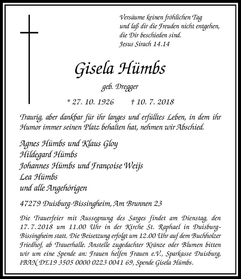 Traueranzeige für Gisela Hümbs vom 14.07.2018 aus Rheinische Post