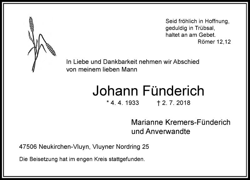 Anzeige von  Johann Fünderich