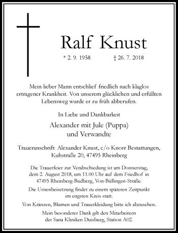Traueranzeige von Ralf Knust von Rheinische Post