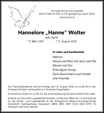 Traueranzeige von Hannelore Wolter von Rheinische Post