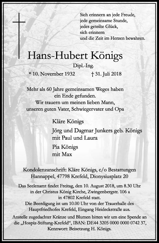 Traueranzeige für Hans-Hubert Königs vom 04.08.2018 aus Rheinische Post