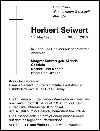 Traueranzeige von Herbert Seiwert von Rheinische Post