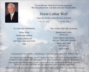 Traueranzeige von Horst-Lothar Wolf von Rheinische Post