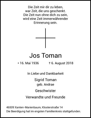 Traueranzeige von Jos Toman von Rheinische Post