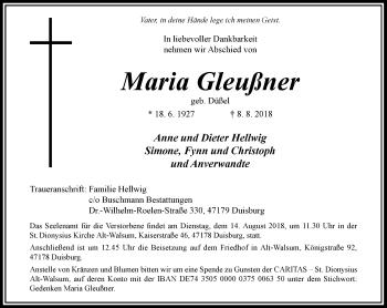 Traueranzeige von Maria Gleußner von Rheinische Post
