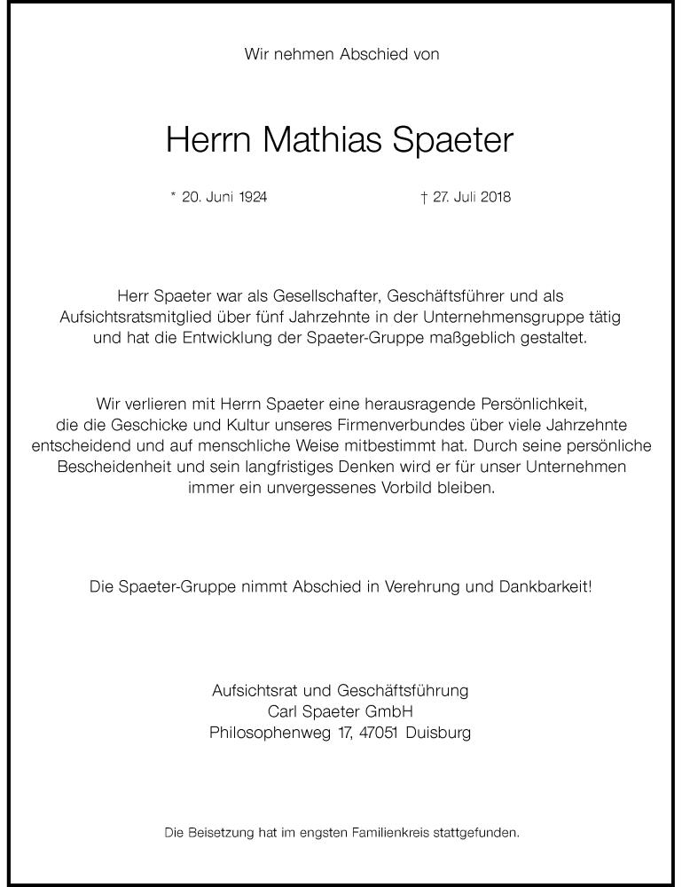 Traueranzeige für Mathias Spaeter vom 11.08.2018 aus Rheinische Post