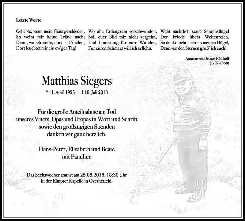 Anzeige von  Matthias Siegers
