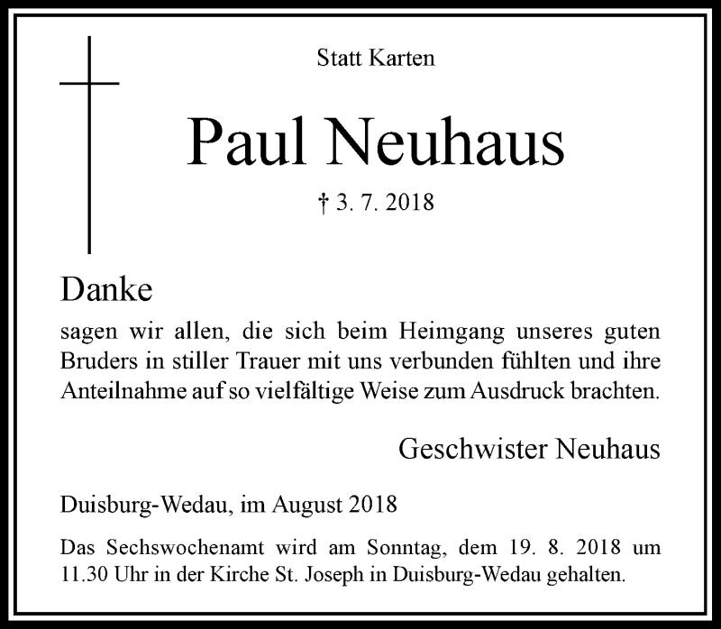 Traueranzeige für Paul Neuhaus vom 11.08.2018 aus Rheinische Post