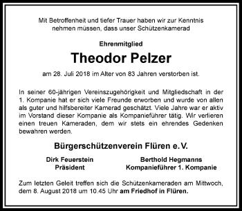 Traueranzeige von Theodor Pelzer von Rheinische Post