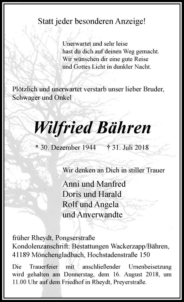 Anzeige von  Wilfried Bähren